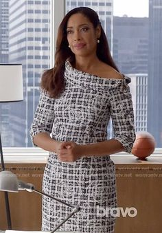 Jessica's tweed off-shoulder dress on Suits. Outfit Details: https://wornontv.net/59067/ #Suits