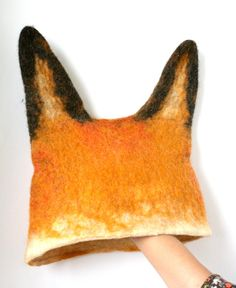 Fox Hat -- Hand Felted Wool -- Size Medium/Large. $35.00, via Etsy.