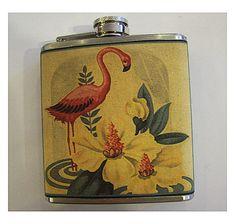 Pink flamingo flask retro vintage 1950's rockabilly Florida deco kitsch