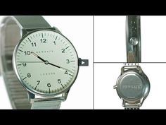 The Blip watch by Newgate Watches.  Steel watch with silver steel Milane...