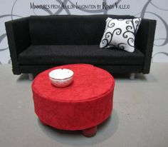 1:12 Scale miniature dollhouse Hand Made Red Ottoman Pouf with ball feet