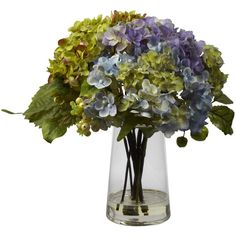 Nearly Natural Hydrangea and Glass Vase Arrangement Decorative Plant ($38) ❤ liked on Polyvore featuring home, home decor, floral decor, green, grey, hydrangea flower arrangement, green home decor, nearly natural, glass flower stems and flower stem