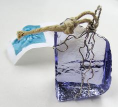 Purple Charm Upcycled Glass Wire Wrapped ready to ship
