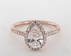 1.5ct Pear Halo Engagement Ring in 360-HD SuperZoom (Rose Gold)