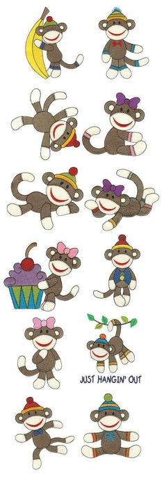 Sweet Sock Monkeys Filled embroidery design set available for instant download at www.designsbyjuju.com