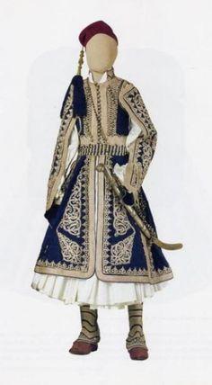 Man's Traditional Greek costume c 1821 Greek Traditional Dress, Traditional Outfits, Art Costume, Folk Costume, Greek Culture, Blue And White Dress, Costumes For Women, Greek Costumes, Greek Art