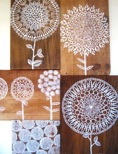 stamped flowers onto reclaimed wood