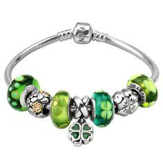 Bracelet #pandora Thème #saintpatrick Bracelet vert www.bijoux-et-charms.fr