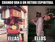 Cuando van a un #retiro #espiritual... #ellas, #ellos Church Memes, Christian Humor, Have Fun, Religion, Funny Quotes, Bible, Teen, Lol, Faith