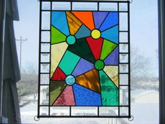 """Kaleidoscope"" Stained Glass Hanging Panel 