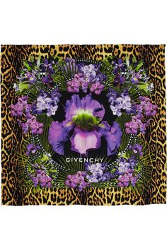 Leopard and floral-print silk-twill scarf by Givenchy