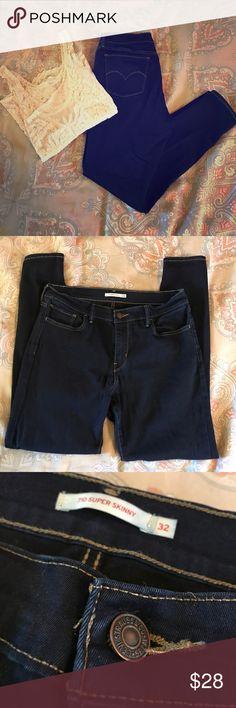 Levi 710 Super Skinny jeans 32/12 Worn twice super dark wash Levi 710 super skinny jeans in a size 32/12 Levi's Jeans Skinny