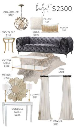 3 Neutral Glam Living Room Designs on 3 Different Budgets Living Room Decoration glam living room decor Glam Living Room, Glam Bedroom, Living Room On A Budget, Living Room Furniture, Living Room Decor, Decor Room, Dining Room, Neutral Living Rooms, Dining Decor