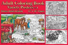 Adult Coloring Book Variety Posters #1 -  Stress Relief Activity - This book is amazing!