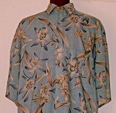 Mens-Hawaiian-Shirt-Tropical-Blue-Orchid-Dragon-Lily-Size-L-Croft-and-Barrow
