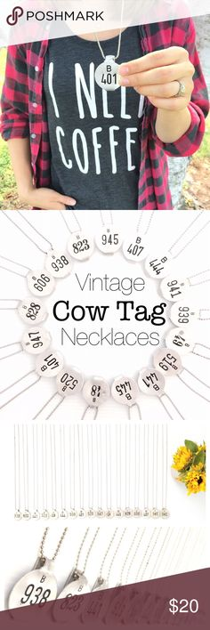 🆕Listing! Vintage tag silver necklaces Hipster/vintage cow tag necklaces. Brand new necklaces with the perfect vintage patina! They all are on 31 inch chains. Let me know your favorite number before you purchase. There are 17 different numbers to choose from! Purchased from a local antique store in upstate New York. Feel free to ask questions. Boutique Jewelry Necklaces