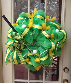 Golf Wreath in Kelley Green Deco Mesh Masters by Cindyswreathsand, $90.00