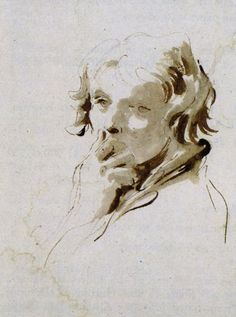 Stretch yourself and learn how to model a face with light. With His Hand to His Mouth Giovanni Battista Tiepolo, pen and brown ink over black chalk, 9 x Life Drawing, Drawing Sketches, Art Drawings, Figure Sketching, Figure Drawing, Pencil Portrait, Portrait Art, Figure Painting, Painting & Drawing