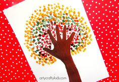 Arty Crafty Kids - Art - Art Ideas for Kids - Autumn Handprint Tree (fall kid crafts handprint) Fall Arts And Crafts, Autumn Crafts, Fall Crafts For Kids, Craft Projects For Kids, Autumn Art, Thanksgiving Crafts, Art For Kids, Art Projects, Kid Crafts