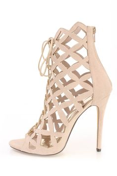 When the Lattice Effect Mustard Yellow Suede Lace-Up Heels show up to the party, they will be impossible to ignore! Peep-toe heels have a lace-up front and heel. Caged Shoes, Peep Toe Shoes, Suede Shoes, Beige Shoes, Lace Up High Heels, Lace Up Sandals, Strappy Heels, Nude Heels, Stilettos