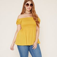 Mustard Gypsy Smock Top NWOT  This woven top features off-the-shoulder short sleeves with a smocked bodice and shirred waistline. Stretchy / Rayon 24' in length. Forever 21 Tops Blouses