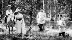 Little Grand Duke Michael Alexandrovich (at horse back) Grand Duchess Elizabeth Feodorovna (Ella of Hesse), Tsar Alexander III and Grand Duke Sergei Alexandrovich.