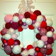 Made this with the whole family!!! Our 1st Val's Day Yarn Wreath!!! Love this one!!!!!!!