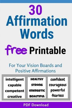 Download our free printable Affirmation Words today and work on a better attitude! Use them on your vision boards, or make a super quick & easy affirmations board, or just stick these positive power words on your mirror or fridge! Change your thoughts and change your life.