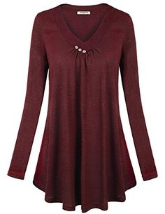 6a2e577f8d928 Women's Henley Shirts - Jazzco Womens Long Sleeve V Neck Button Pleated  Front Flowy Shirts * Want to know more, click on the image. (This is an  Amazon ...