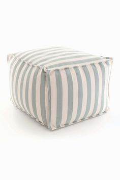 Large indoor/outdoor pouffe from leading brand Dash & Albert, light blue & ivory stripe polypropylene cover with polystyrene filling. Perfect accessory for high traffic living areas or outdoor entertaining.