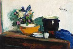 George Leslie Hunter, KITCHEN TABLE WITH SPRING FLOWERS