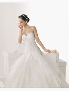 White Ball Sweetheart Lace Tulle 2014 Wedding Dresses AWD430490