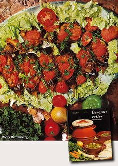 """Imam Bayildi ( Knocked Out Priest) – Turkey - A recipe from """"Berømte Retter"""" (Famous Dishes) published by Ernst G Mortensen in 1970 - Tradition has it that this dish is named after an Imam (Islamic priest) who was a gourmet. He was so overwhelmed by the delicious aroma of this court, that he fainted."""