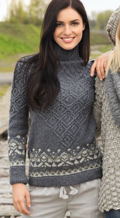 Sweater with textured pattern and jacquard borders