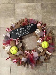 Baseball/softball season wreath