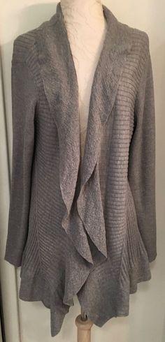 EILEEN FISHER Size Large Gray Open Cascading Cardigan Sweater Lightweight wool #EileenFisher #Cardigan