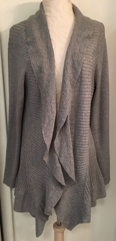 EILEEN FISHER Size Large Gray Open Cascading Cardigan Sweater Lightweight wool #EileenFisher #Cardigan