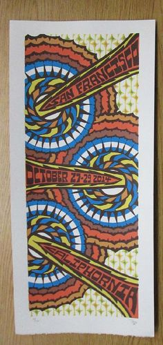 Original silkscreen concert poster for Phish at the  Bill Graham Civic Auditorium in San Francisco, California on Oct 27, 2014. 10 x 22 inches. It is printed on Watercolor Paper with Acrylic Inks. The poster is signed and numbered out of 250 by the artist Tripp.