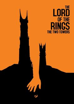 This is a poster for the movie in the Lord of the Rings franchise;Lord of the Rings: The Two Towers. It uses frodos outstretched hand to separate the two towers. Minimal Movie Posters, Minimal Poster, Cool Posters, Film Posters, Retro Posters, Tolkien, Poster Minimalista, Tv Movie, Plakat Design
