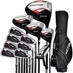 PGM-Victor Golf Adult Cue Kit Junior Clubs Golf Driver Men's Complete Set Clubs /Covers Full Set Putters Wood Irons Standard Bag