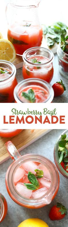 Lighten up your homemade lemonade with a honey simple syrup, then flavor it with fresh strawberry puree and muddled basil!