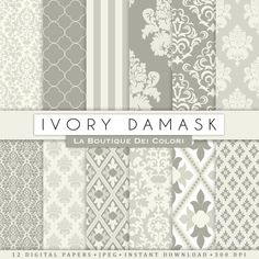 Damask Wedding Ivory digital paper. Gray  by LaBoutiqueDeiColori