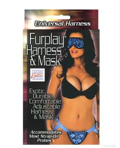 """Furplay Harness & Mask - Blue Leopard  $22.95  """"Next time you have foreplay don't forget the fur! The Furplay Harness is adjustable to fit most. The front of the harness has a soft animal print and the 1.75"""" inside diameter of the metal ring will accommodate most of your favorite probes! The mask is made of the same soft material as the harness and has stretchy bands to hold it in place. The purrrrfect foreplay!"""""""