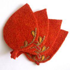 Felted Wool Leaf Coasters, via Flickr.