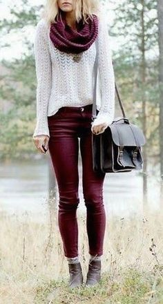 #street #style fall / burgundy + white                              …