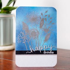Woodware Going to Seed – mygirllollipop. I stamped the flower image with Versamark and heat embossed with silver embossing powder. Then I blended three colours of distress ink over the image. Card Making Tutorials, Flower Images, Masculine Cards, Distress Ink, Flower Cards, Birthday Cards, Seeds, Paper Crafts, Crafty