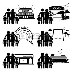 Family Outing Activities - Cinema, Zoo, Underwater Theme Park, Playground, Restaurant Dining, Holiday Cruise Ship - Stick Figure Pictogram Icon Clipart