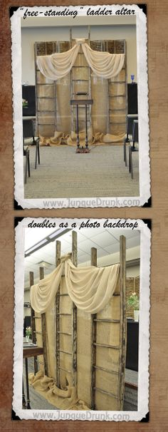 """free-standing"" ladder altar can be relocated after the ceremony to serve as a backdrop for the DIY photo booth. vintage weddings, wedding altar"