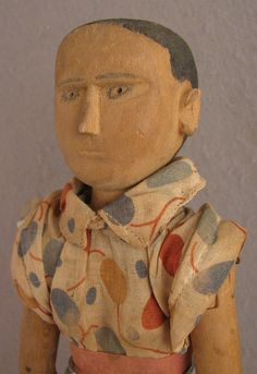 Rare jointed wooden Kentucky poppet doll