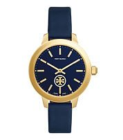 Tory Burch Collins Watch, Navy Leather/gold-tone, 38 Mm